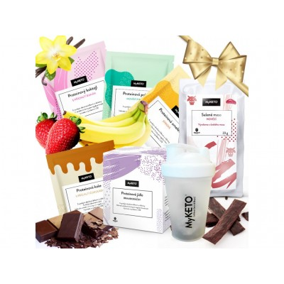 MyKETO Proteínový balíček Darujte štíhlosť + shaker zdarma 19 porcii
